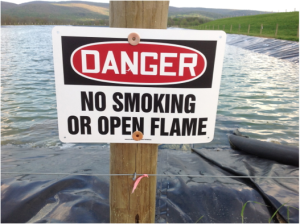 fracking sign, no open flame